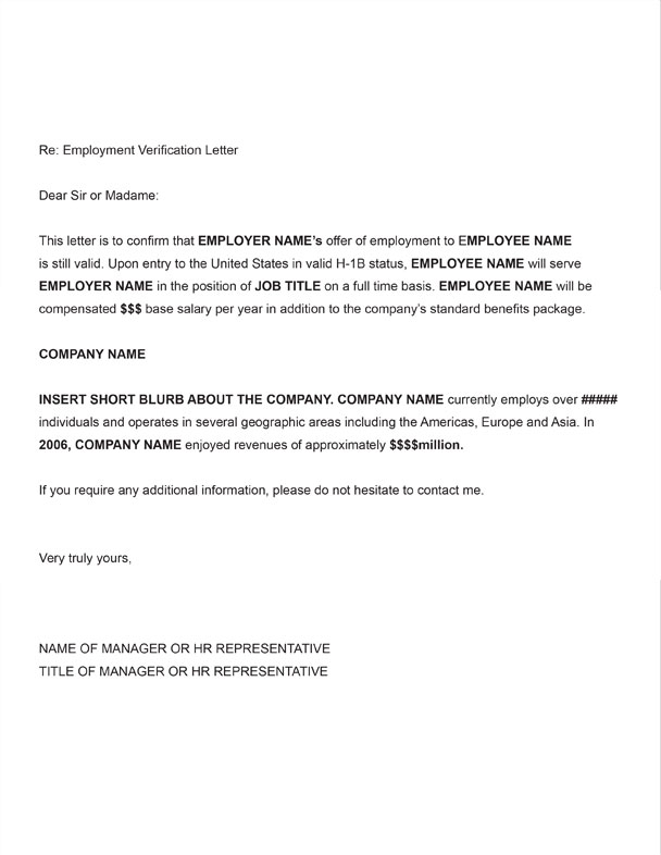 H 1b employment verification sample letter you should obtain a signed employment verification letter on your us employers letterhead each time you visa stamp and travel internationally spiritdancerdesigns Choice Image